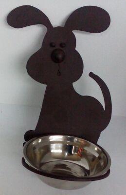 12-6321437, Hundefressnapf mit Metall Wandhalterung in Hundeform , Trinknapf, Fressnapf