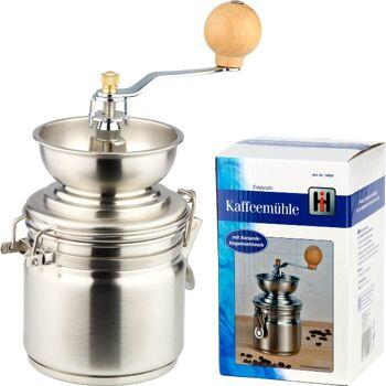 28-140567, Kaffeemühle Edelstahl mit Keramik-Kegelmahlwerk für schonendes Mahlen, Mahlgrad individuell einstellbar