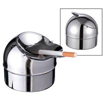 28-160497, Metall Aschenbecher mit Klappe, Sturmaschenbecher