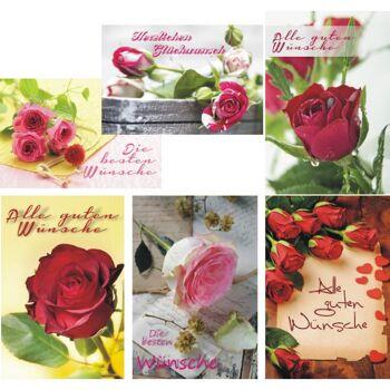 28-165908, Geschenk Karten Allgemeine Wünsche, Rosenmotive, Glückwünsche, Geschenkkarten