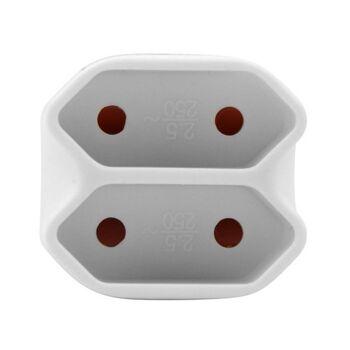 28-374778, Eurokupplung 2er, kabellos, kompakter Schukostecker mit doppelter Eurosteckdose