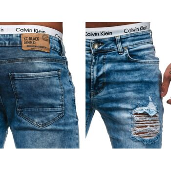 Modische Herren Jeanshose Vintage Destroyed-Look Slim-Fit Hosen Jeans Denim Washed - 16,90 Euro