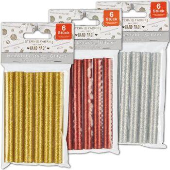 28-711490, Heißklebepatronen 6er Pack, Heißklebestifte, Heißklebesticks, farbig mit Glitter, ideal zum Basteln und Dekorieren
