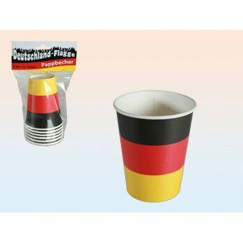 Pappbecher 6er Pack Deutschlandflagge, Partybecher, Einweggeschirr, Fahne, Flagge, BRD Farben+++++++