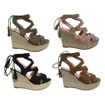 Damen Woman Sommer Trend Espadrilles Keil Sandalette High Heel Sandale Schuh Shoes Business Freizeit nur 11,90 Euro