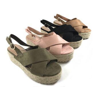 Damen Woman Sommer Trend Plateau Espadrilles Sandalen Sandaletten Slipper Schuh Shoes Business Freizeit nur 11,49 Euro