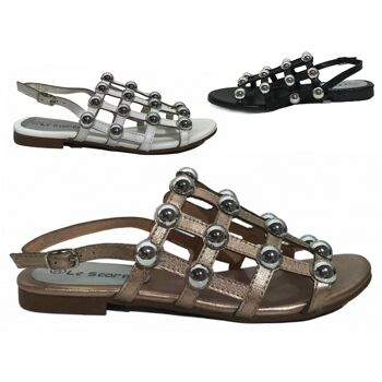 Damen Woman Sommer Trend Sandalen Metallic Look Sandaletten Slipper Schuh Shoes Business Freizeit nur 9,90 Euro