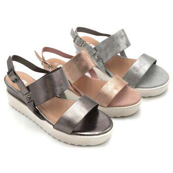 Damen Woman Sommer Trend Sandalen Metallic Look Sandaletten Slipper Schuh Shoes Business Freizeit nur 10,90 Euro