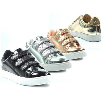 Damen Trend Sneaker Glitzer Metallic Look Klettverschluss Schuhe Schuh Shoes Sportschuh Freizeitschuh nur 6,90 Euro