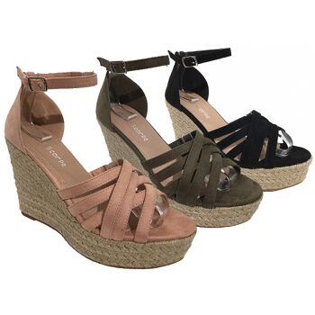 Damen Woman Sommer Trend Espadrilles Keil Sandalette High Heel Sandale Schuh Shoes Business Freizeit nur 11,49 Euro