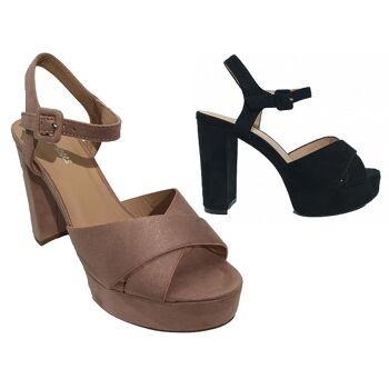 Damen Woman Sommer Trend High Heel Sandalette Sandale Schuh Shoes Business Freizeit - 12,90 Euro