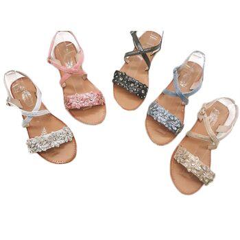 Damen Woman Sommer Trend Sandalen Metallic Look Sandaletten Strass Steine Slipper Schuh Shoes Business Freizeit nur 8,90 Euro