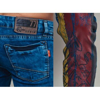 Modische Herren Jeanshose Fan WM Länder Deutschland Germany Vintage Slim-Fit Hosen Jeans Denim Washed - 10,90 Euro