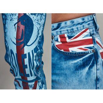 Modische Herren Jeanshose Fan WM Länder Großbritannien Great Britain Destroyed Look Vintage Slim-Fit Hosen Jeans Denim Washed - 10,90 Euro