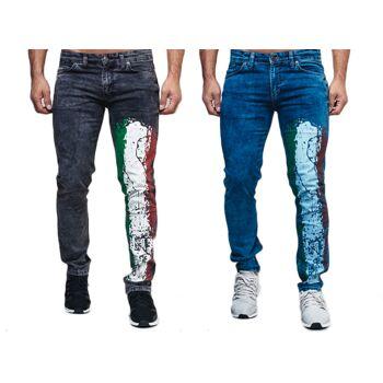 Modische Herren Jeanshose Fan WM Länder Italien Italy Vintage Slim-Fit Hosen Jeans Denim Washed - 10,90 Euro