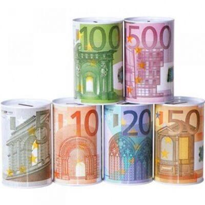 28-946238, Metall Spardose Euro-Scheine, Geldscheine