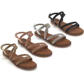 Damen Woman Sommer Trend Strass Glitzer Sandalette Sandale Schuh Shoes Business Freizeit nur 9,90 Euro