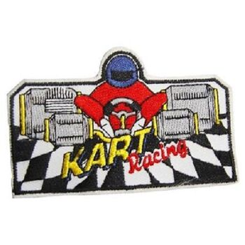 Set 5 x Aufnaeher 8,5 x 5,5 cm Kart Racing Karting