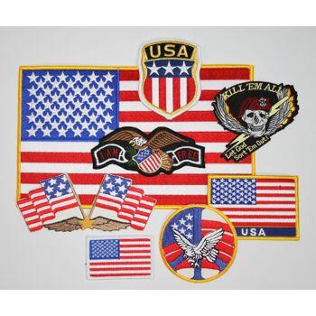 8 x Aufnaeher - Set USA verschiedene Groeßen