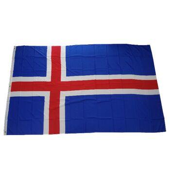 Flagge Fahne Island 250 x 150 cm mit 3 Ösen 100g/m² Stoffgewicht Hissfahne Hissflagge Sturmflagge Sturmfahne Flaggen Fahnen Wehen Mastfahne