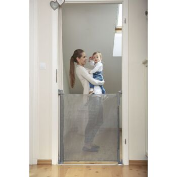 Lionelo Tulia Baby Tür- u. Treppenschutzgitter grau Sturzsicherung Rollo einrollbar 0-140 cm Treppenschutz Türschutz Sturzschutz