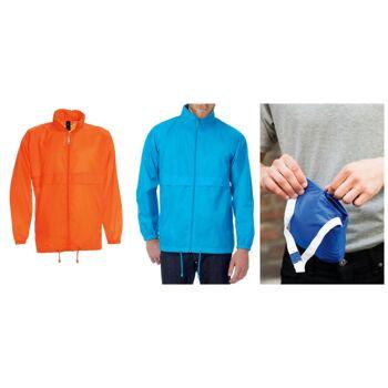Herren Regenjacke Restposten Orange Jacke mit Kapuze winddicht wasserabweisend regenfest