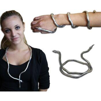27-46879, schwere Schlangenkette 90 cm, silber, beweglich, Halskette