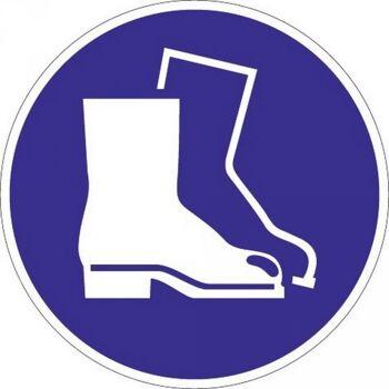 Folie Fußschutz benutzen D.200mm blau/weiß ASR A1.3 DIN EN ISO 7010