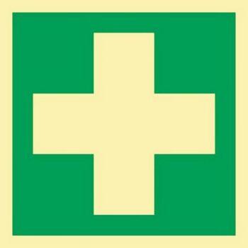 Schild Erste Hilfe 148x148mm Kunststoff ASR A1.3 DIN EN ISO 7010 nachleuchtend