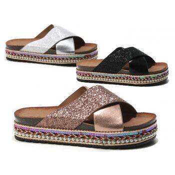 Damen Woman Sommer Trend Slipper Pantolette Metallic Look Glitzer Sandale Slip on Schuh Shoes Business Freizeit nur 11,49 Euro