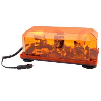 24V Doppel Rundumleuchte LKW Warnleuchte 24V Leuchtbalken, magnetisch, E13 Freigabe, 2 Drehspiegellampen, 3 m Spiralkabel