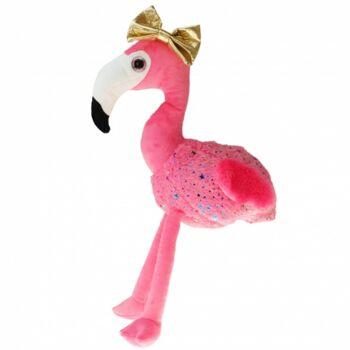 10-111060, Knuddeliger Plüsch-Flamingo 110 cm, mit Glitzer-Sternen und goldener Schleife, Plüschflamingo, Plüschtier