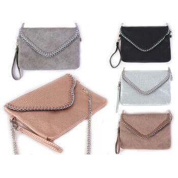 Damen trend Tasche Abendtasche Klein Handtasche Clutch Schultertasche Umhängetasche Kettentasche Ketten Metallic Lederlook Glitzer - 10,90 €