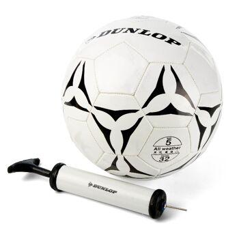 28-990590, Allwetter Fußball Dunlop, Größe 5, inkl. Ballpumpe, Fussball