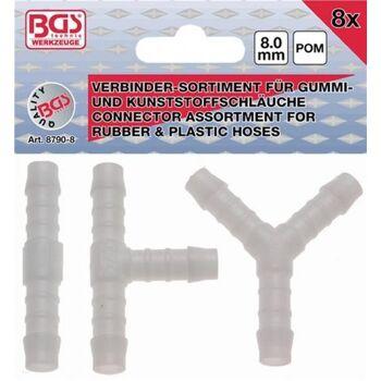 Schlauchverbinder-Sortiment, 8 mm, 8-tlg. I ,T, Y