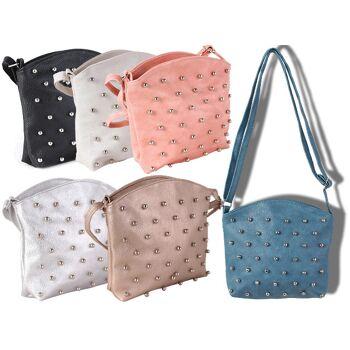 Damen Mädchen Trend Tasche Modetrend Nieten Metallic Glänzend Statement Taschen Lederimitat Umhängetasche Damentasche Mix - 7,90 Euro