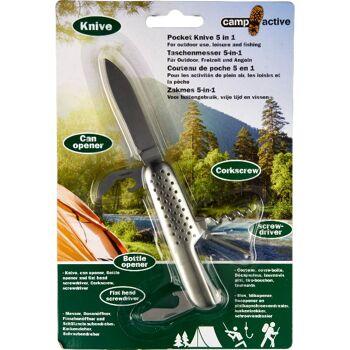 28-060798, Edelstahl Taschenmesser mit 5 Funktionen, Für Outdoor, Freizeit und Angeln+++++