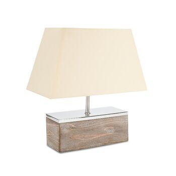 Lampe Tischlampe Tischleuchte aus Holz Baumwolle Metallapplikationen 40cm hoch Design Holzlampe Landhausstil vinage shabby chic