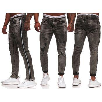 Herren Men Trend Jeanshose Streifen Vintage Destroyed-Look Slim-Fit Hosen Jeans Denim - 16,90 Euro