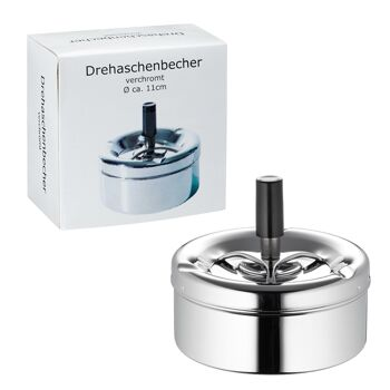 17-10743, Metall Aschenbecher, Drehascher, 11 cm, Sturmaschenbecher