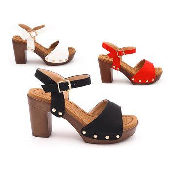 Damen Woman Sommer Trend High Heel Sandalette Sandale Schuh Shoes Business Freizeit nur 12,90 Euro