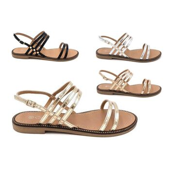 Damen Woman Sommer Trend Sandalette Metallic Glanz Sparkle Riemchensandale Schuh Shoes Business Freizeit nur 9,90 Euro