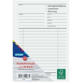 12-40086, Multiformular,DIN A5,2x40 Blatt,FSC  Lieferschein Rechnung usw.