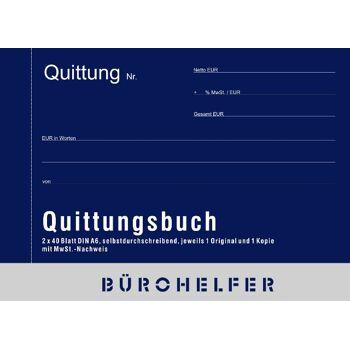 12-50151, Quittungsbuch DIN A6,  2 x 40 Blatt, selbstdurchschreibend