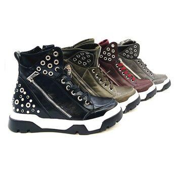 Damen Trend Sneakers Boots Plateau Stiefeletten Schnürschuhe Schuhe Schuh Shoes Freizeit Schuh nur 19,90 EUR