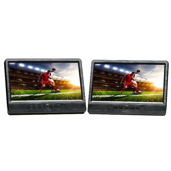 DENVER MTW-1085 TWIN Portables KFZ Cinema Set DVD Player mit 2x 10,1 Zoll Bildschirm + 2x Kopfhörer Auto Car Multimedia Entertainment Reise