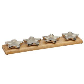 17-63537, Holz Adventsleuchter 50 cm, mit Aluminium Sternschalen