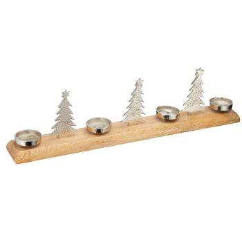 17-63540, Holz Adventsleuchter 75 cm, mit Aluminium Schalen