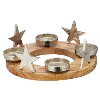 17-63558, Holz Adventsleuchter rund 30 cm D, mit Aluminium Schalen