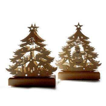 17-30192, Holz Tannenbaum mit flackerndem LED-Teelicht, Weihnachtsbaum, Weihnachtsdeko